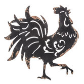 Black Rooster Metal Wall Decor
